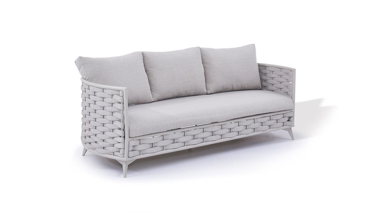Rope Sofa Coco 209 cm - seidengrau