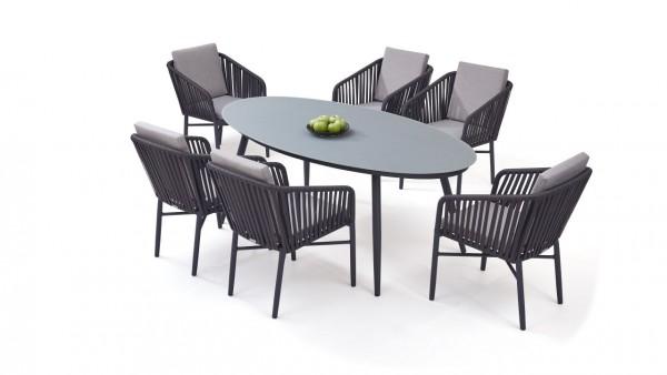Aluminium dining group set sudbury 6 - anthracite