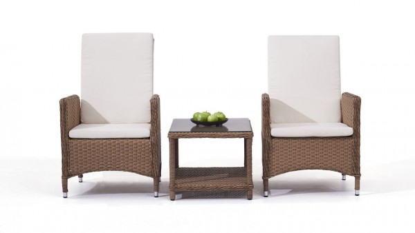 Polyrattan Chair Doona, 2 pieces with Table - caramel