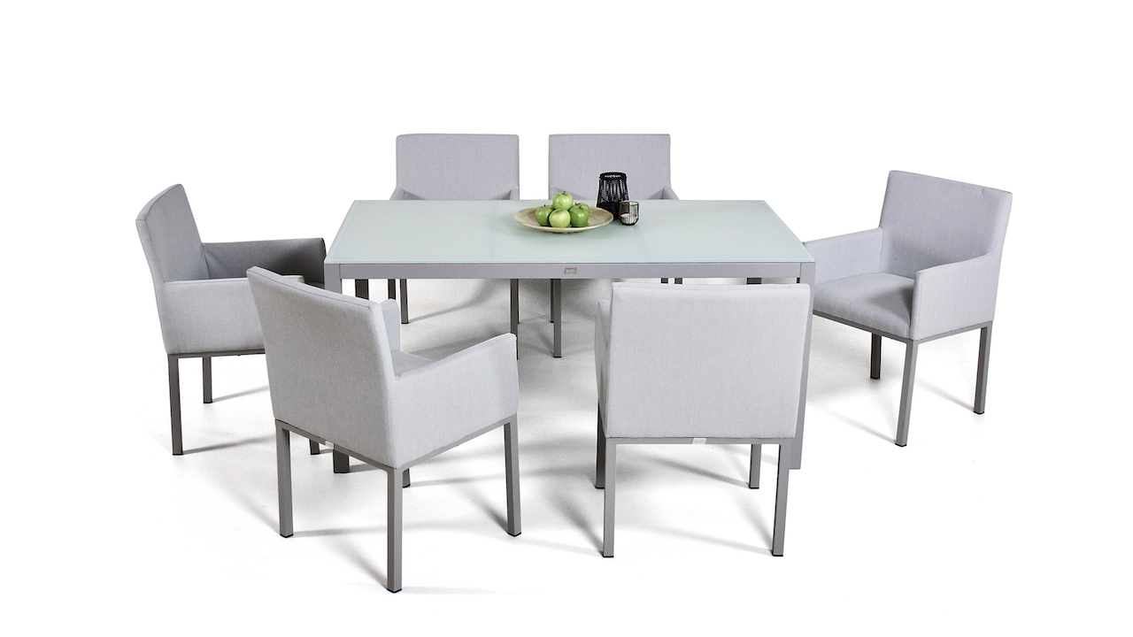 Aluminium Dining Table Frosted Glass 160 Cm Living Zone Garden Furniture Living Zone