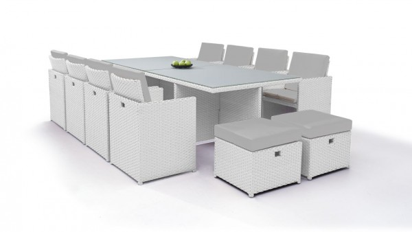 Polyrattan dining group set bodiner 8+4 - white satin-finish