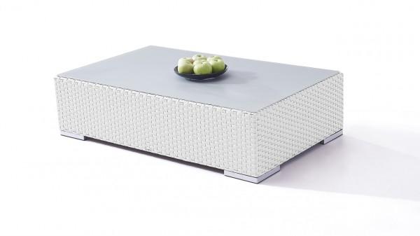 Polyrattan Cube Tisch 125 cm - weiß satiniert