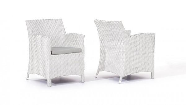 Polyrattan Stuhl Mulee, 2 Stück - weiß satiniert