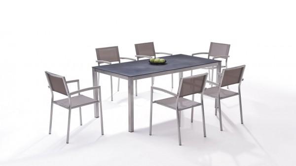 Stainless steel dining group set marbella 6 - beige