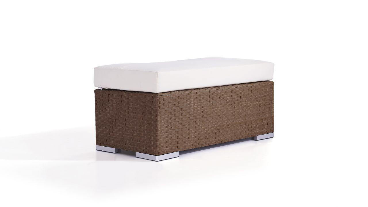 Polyrattan Cube Hocker 45 cm - nussbraun