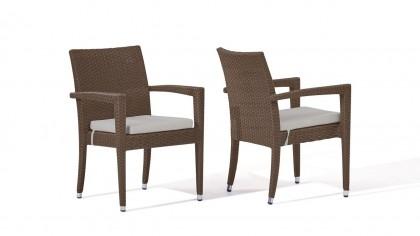 chaise en polyrotin Shero, 2 pièces - brun noisette