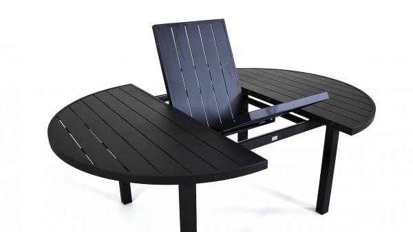 Aluminium dining table extendable 145/197 cm, round - anthracite