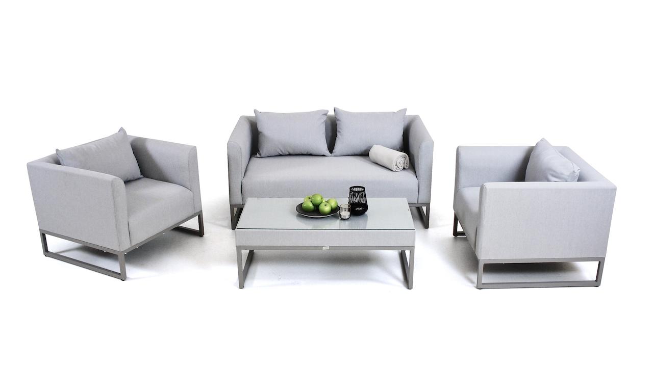 groupe de sièges en tissu Lino - gris soie