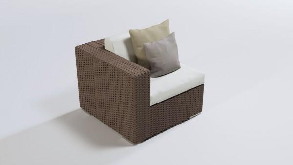 Polyrattan Cube Ecksofa 90 cm - nussbraun