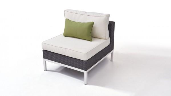 Polyrattan stainless steel silva middle sofa - anthracite