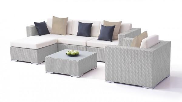 Polyrattan seating group set big mesa - grey satin-finish