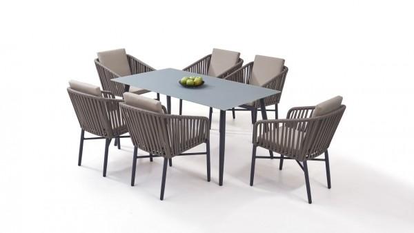 Aluminium dining group set hastings 6 - grey-brown