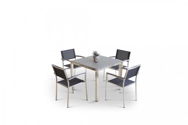Stainless steel dining group set marbella 4 - black