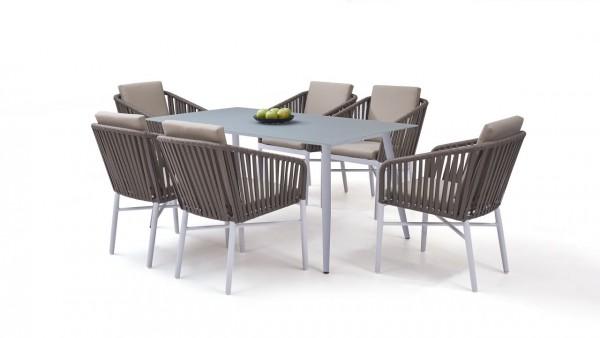 Aluminium dining group set hastings 6 - white