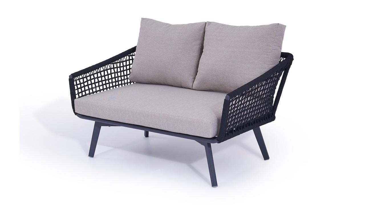 Rope Sofa Diva 136 cm - schwarz