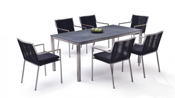 Stainless steel dining group set bilbao 6 - black