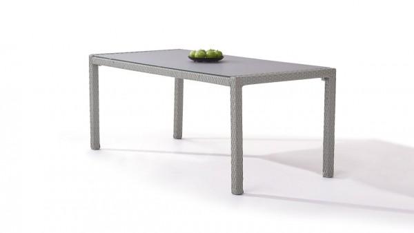 table à manger en polyrotin 180 cm - gris satiné