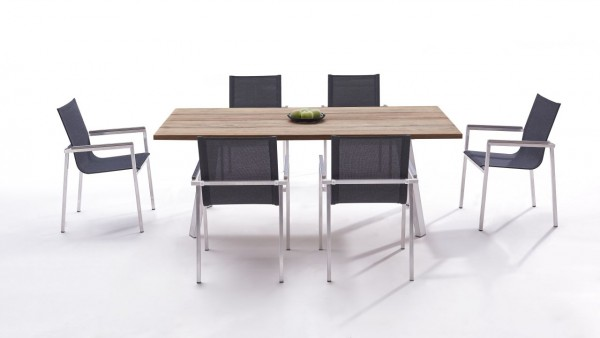 Stainless steel dining group set leon 6 - anthracite