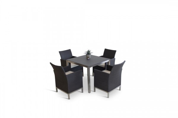 Stainless steel dining group set vichy 4 - anthracite