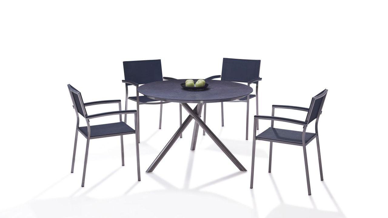 Edelstahl Essgruppe Merida 4 - schwarz - Gartenmöbel Edelstahl Essgruppe in Schwarz | Küche und Esszimmer > Essgruppen