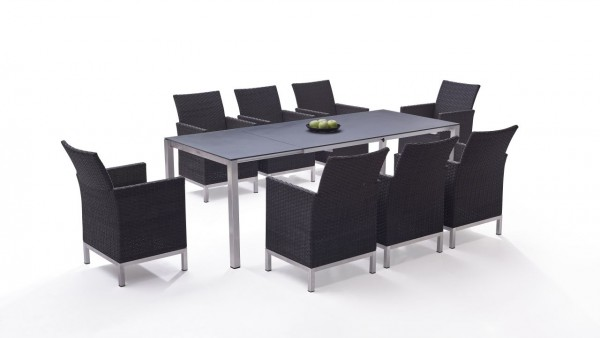Stainless steel dining group set vichy 8 - anthracite