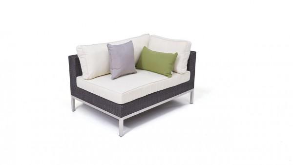 Polyrattan stainless steel silva corner sofa 120 cm, right - anthracite