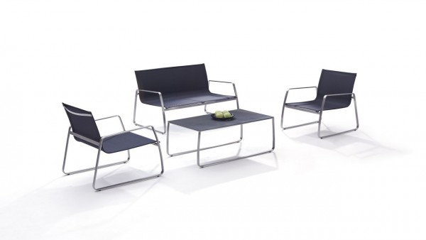 Stainless steel seating group set balcony - black