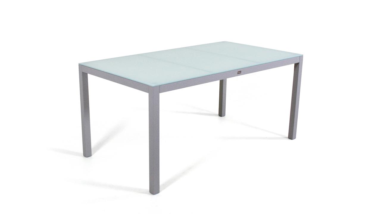 table à manger en alu verre mat 160 cm - gris soie