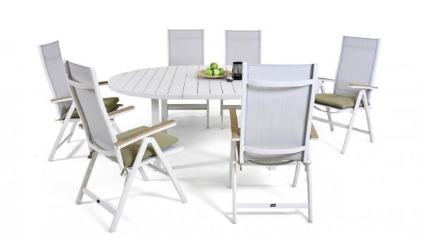 Espace repas en alu Salvador 6 145/197 cm, rond - blanc