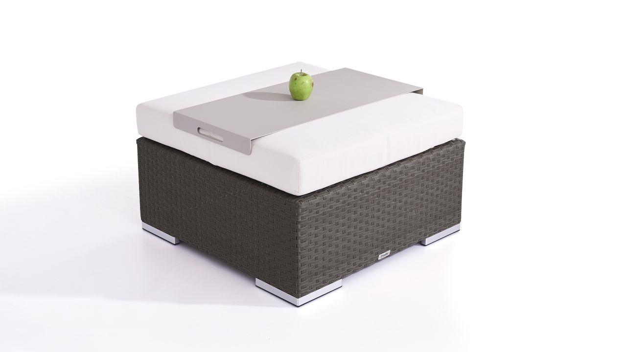 Polyrattan Cube Hocker 75 cm - anthrazit
