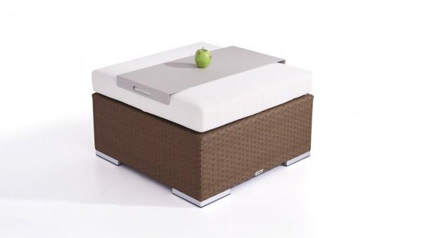 Polyrattan Cube Hocker 75 cm - nussbraun