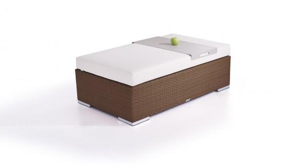 Polyrattan cube stool 125 cm - nut brown