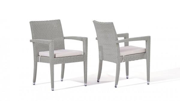 chaise en polyrotin Shero, 2 pièces - gris satiné