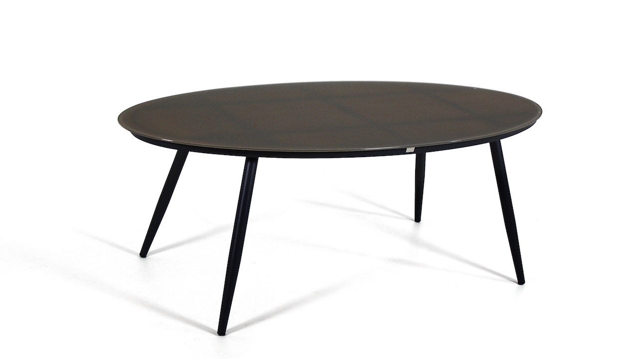 table à manger en alu verre mat 200 cm, oval - anthracite