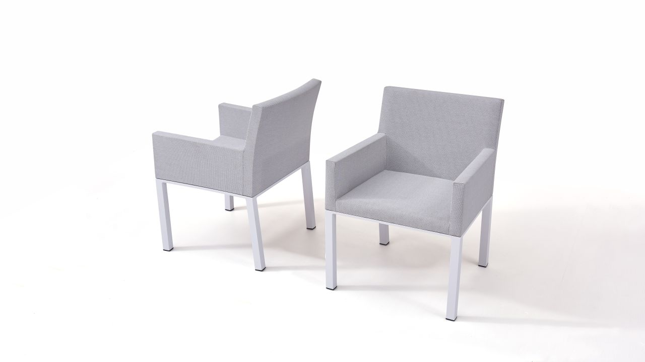 Textilene Stuhl Pad, 2 Stück seidengrau Aluminium Gartenmöbel Stuhl Set in Seidengrau