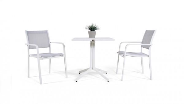 Aluminium dining group set brasilia 2 - white