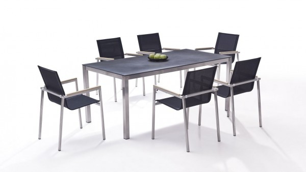 Stainless steel dining group set linares 6 - black