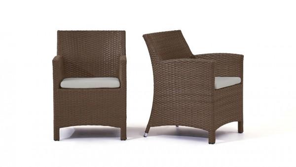 chaise en polyrotin Mulee, 2 pièces - brun noisette