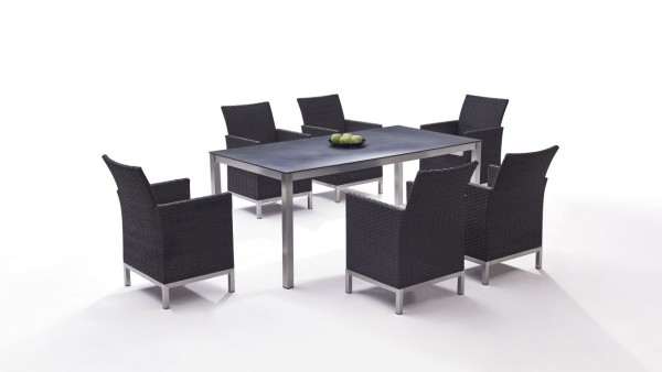 Stainless steel dining group set vichy 6 - anthracite