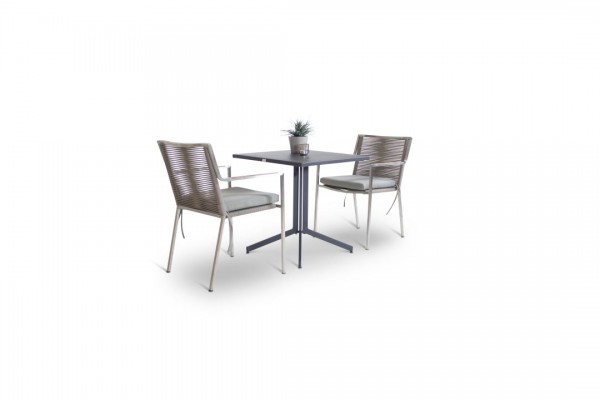 Stainless steel dining group set bilbao 2 - grey-brown