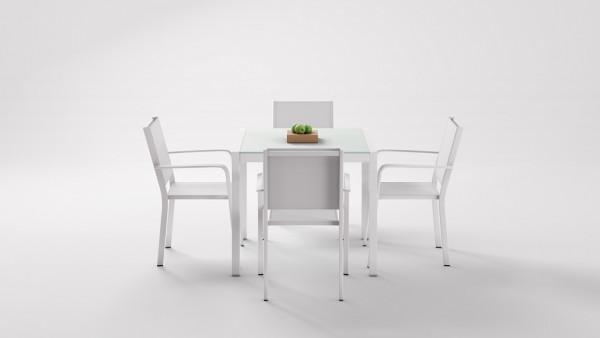 pt. table à manger en aluminium verre opale