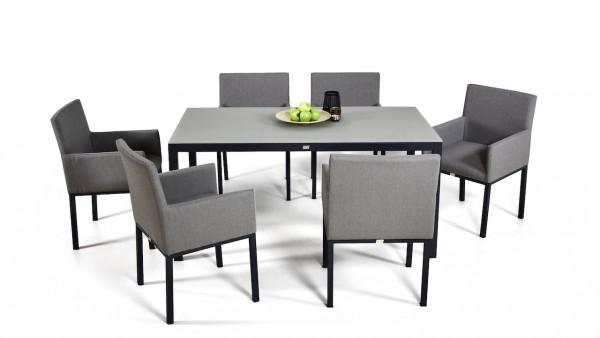 Aluminium dining group set mellow 6 - grey-brown