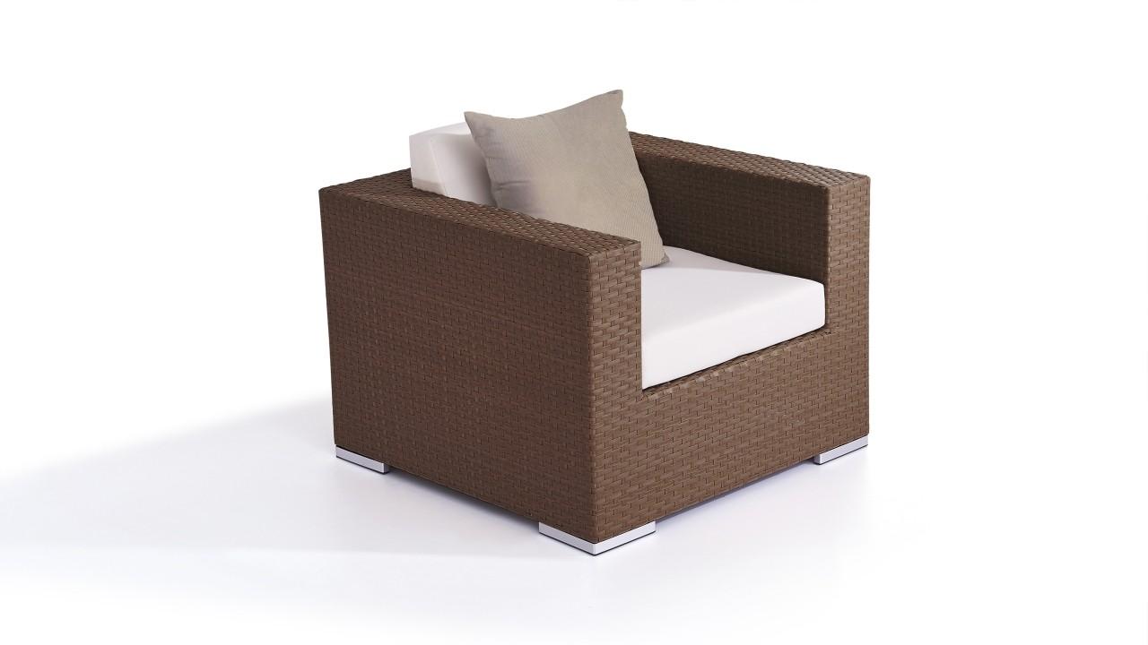 Polyrattan Cube Sessel - nussbraun