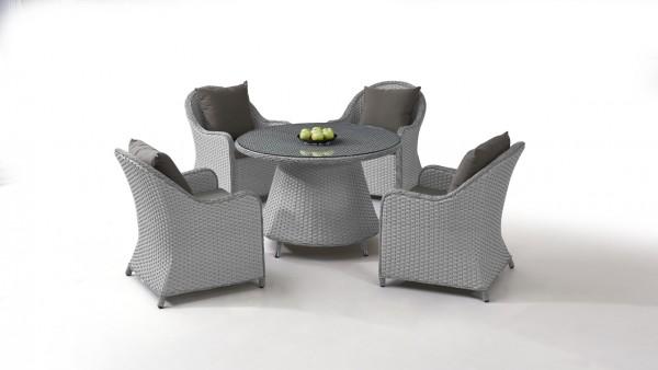 Polyrattan dining group set kasu 4, round - grey satin-finish