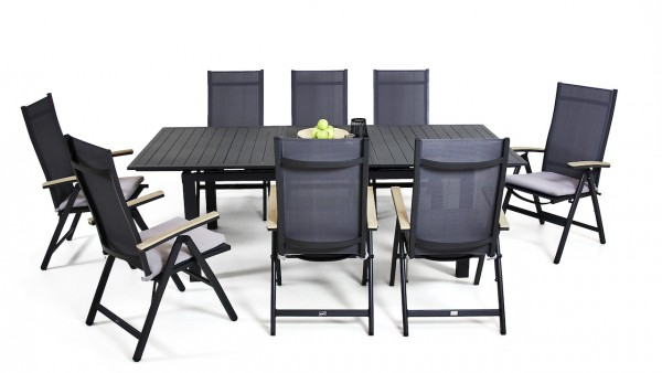 Aluminium dining group set santos 8 180/240 cm - anthracite