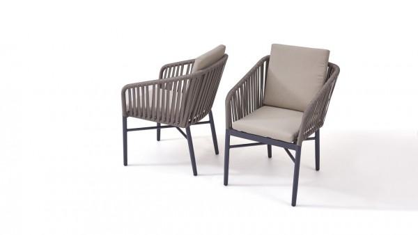 Chaise Rope U, 2 pièces- gris-brun