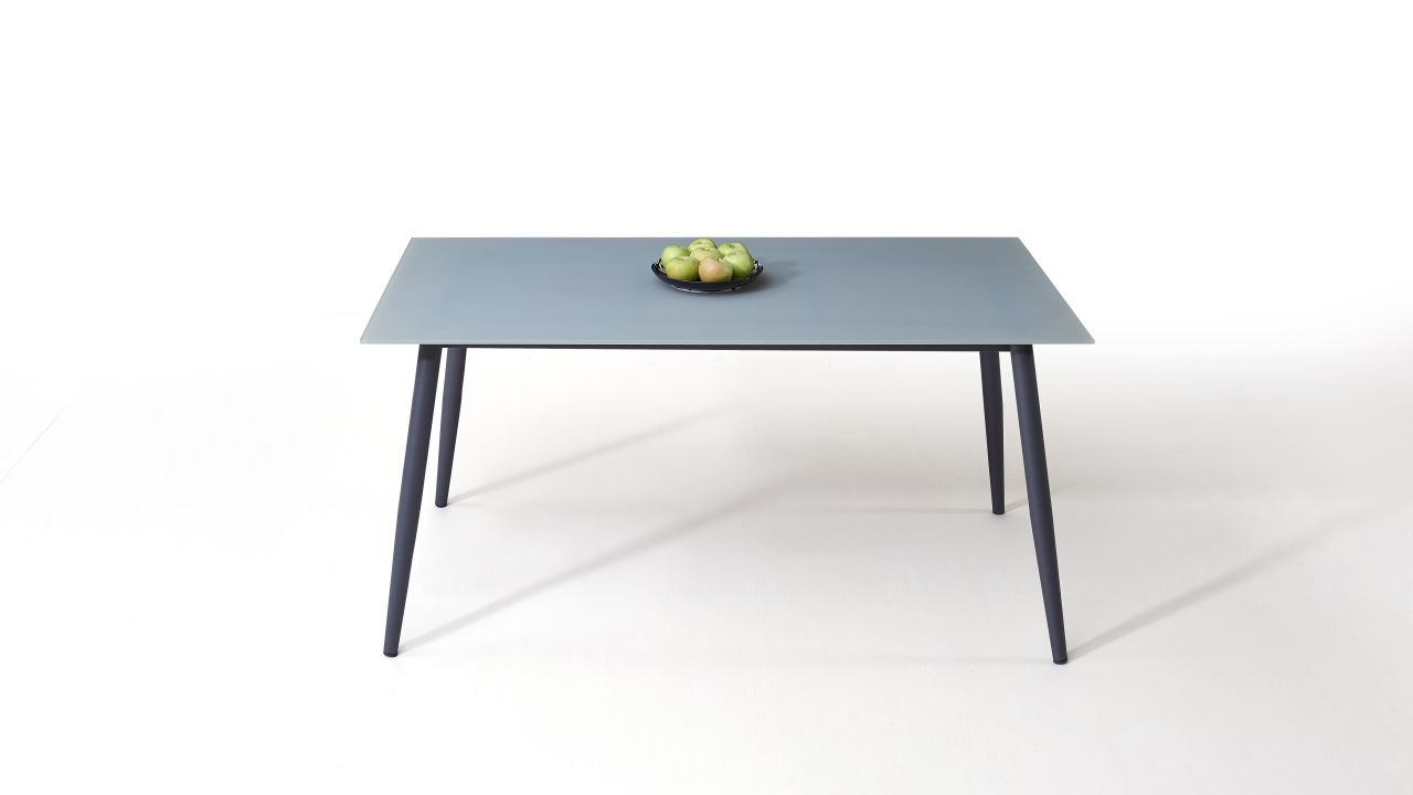 - Aluminium Dining Table Frosted Glass 160 Cm, Konisch Living-Zone