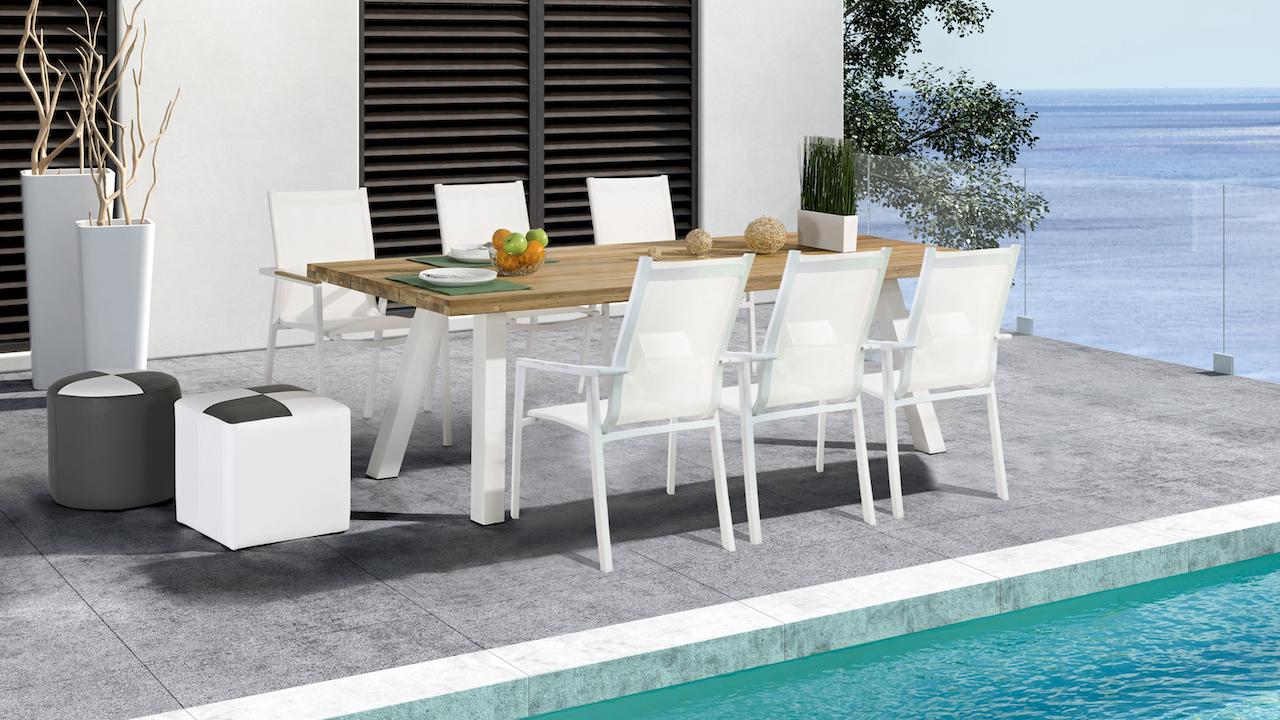 espace repas en alu Tecca 6 - blanc