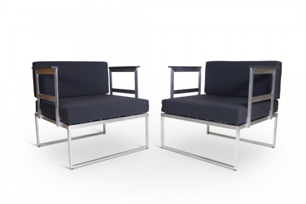 Stainless Steel Armchair, 2 pieces - black