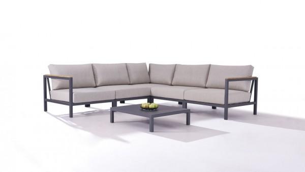 Aluminium seating group set flores - anthracite